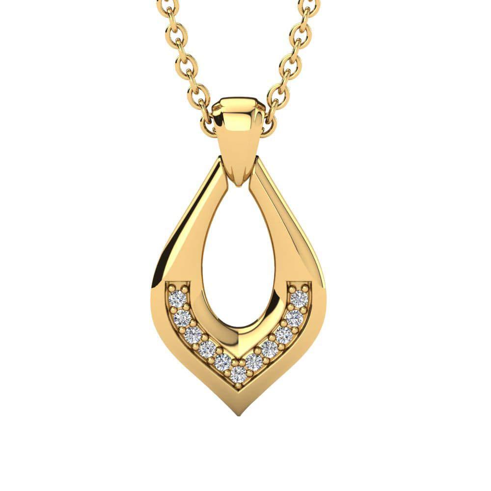 Dividiamonds 0.05 Cts Sim Diamonds Colgante Bolsena Pendant Necklace with 18 Chain 14K Gold Plated .925