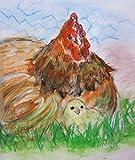 chicken artwork - Chicken, Barnyard Scenes, Farm Art, Farm Print, rooster Print, Chicken and Chick, Print of Original Artwork, signed by artist.