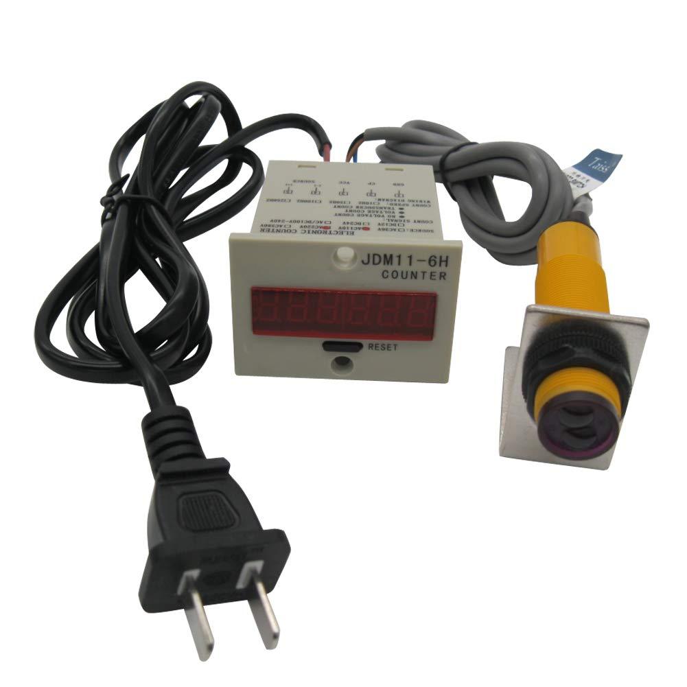TWTADE/ 110-220VAC LED Auto Display Digital Counter 0-999999 6 Digits + Photoelectric Switch Sensor Distance 30CM NPN NO + Holder
