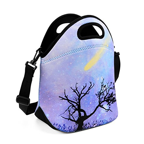 ToteUp Thermal Waterproof Neoprene Lunch Bag and Shoulder Strap Shadow Tree (Classy Lunch Bag)
