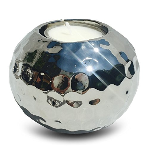 Whole House Worlds The Crosby Street Chic Glimmer Globe Tea Light Holder, Textured, Glazed Ceramic, Silver, 2 3/4 Tall x 3 1/2 Diameter, Bottom Pads, By WHW (Textured Candle Ball)