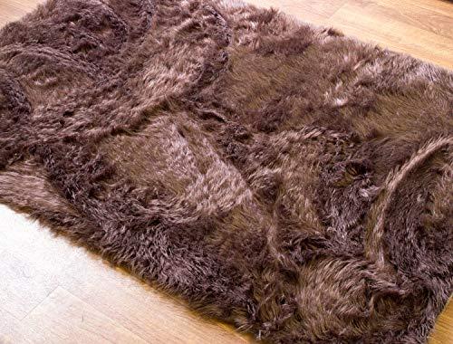 (Super Area Rugs Silky Shag Rug Faux Fur Sheepskin Rugs in Dark Brown, 4' x 6')