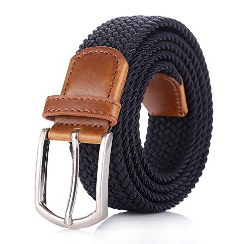 """Weifert Elastic Braided Belt Big & Tall Available Stretch Woven Belts (XXXL(49-52""""), Dark Blue)"""