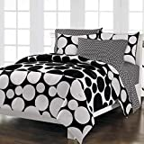 Loft Style Spot The Dot Modern Bedding Comforter Set, Black, Twin