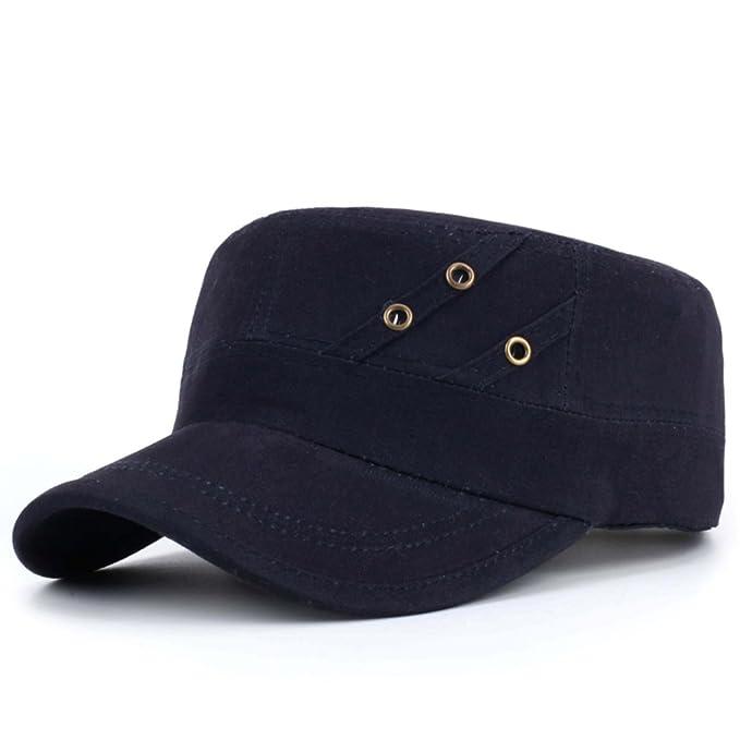 Sombrero Casquillo plano de los hombres Gorra militar Casual hombre Cap Sombra  sombrero para el sol de otoño Deportes al aire libre tapa-B ajustable  ... a251bbc3e86