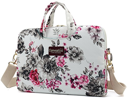 Canvaslove 15 inch Waterproof Laptop Shoulder Messenger Bag Case for 14 Inch 15.6 inch Laptop (Chrysanthemum)