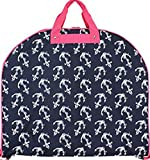 Nautical Anchor Print Garment Bag Travel Pink Navy Blue