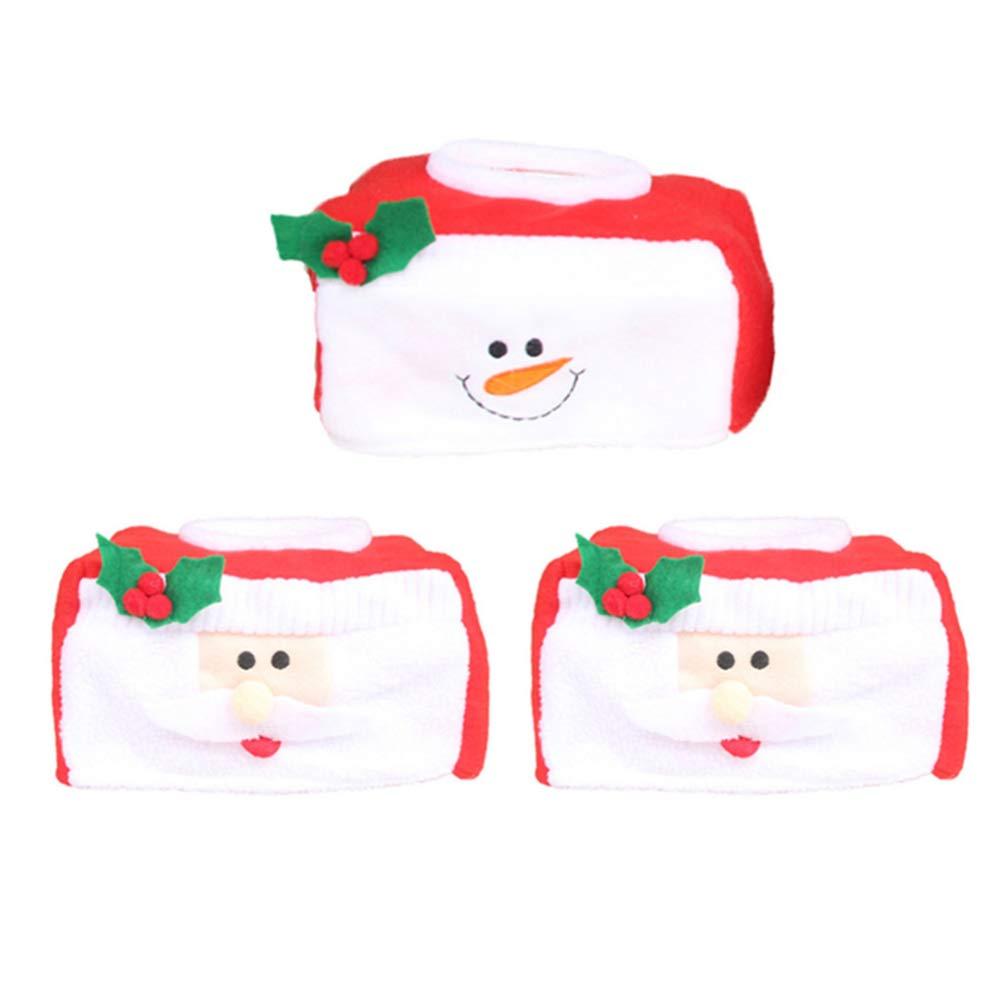 NUOBESTY 3 St/ücke Weihnachten Tissue Box T/ücher Kosmetikt/ücherbox Weihnachtsmann Schneemann Taschentuchbox Tischdeko f/ür Zuhause B/üro Auto Hotel Restaurant