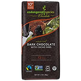 Endangered Species Bat, Puffin, (72%) Dark Chocolate with Cherries , 3-Ounce Bars (Pack of 12) 18 72% COCOA - The fruity, complex zest of cacao nibs, the heart of the beans that make up Endangered Species Chocolate, springs to life in our premium, 72% cocoa dark chocolate. Bite in for energizing flavor and a vivid crunch. HIGH QUALITY INGREDIENTS - Bittersweet Chocolate (Chocolate Liquor, Cane Sugar, Soy Lecithin, Vanilla). We believe that to craft premium world-class chocolate, there's no way around it: you need the best ingredients. Our clean, natural ingredients are selected for their quality and sustainability, with a dedicated team constantly focused on finding the ideal ingredients for maximum taste. NON-GMO, FAIRTRADE CHOCOLATE - We care about the farmers who grow the cocoa that we use in our products, and we're dedicated to supporting communities that practice sustainable farming practices. We commit to paying premiums so that you can be sure that our chocolate, made in America, uses fair trade cocoa that can be traced back to Fairtrade farms in West Africa.