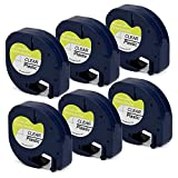 Jofoce Compatible DYMO LetraTag 16952 Label Tape Black on Clear 12mm (1/2 inch) Width X 4m (13 Ft) Length, Work with DYMO LetraTag Plus LT-100H LT-100T QX50
