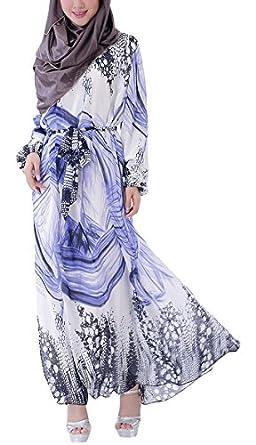Aivtalk Women Muslim Abaya Chiffon Dress Dubai Islamic Clothing Long Dress
