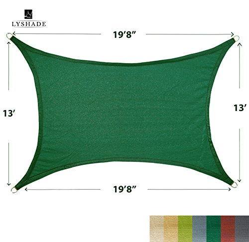 LyShade 19 8 x 13 Rectangle Sun Shade Sail Canopy Dark Green – UV Block for Patio and Outdoor