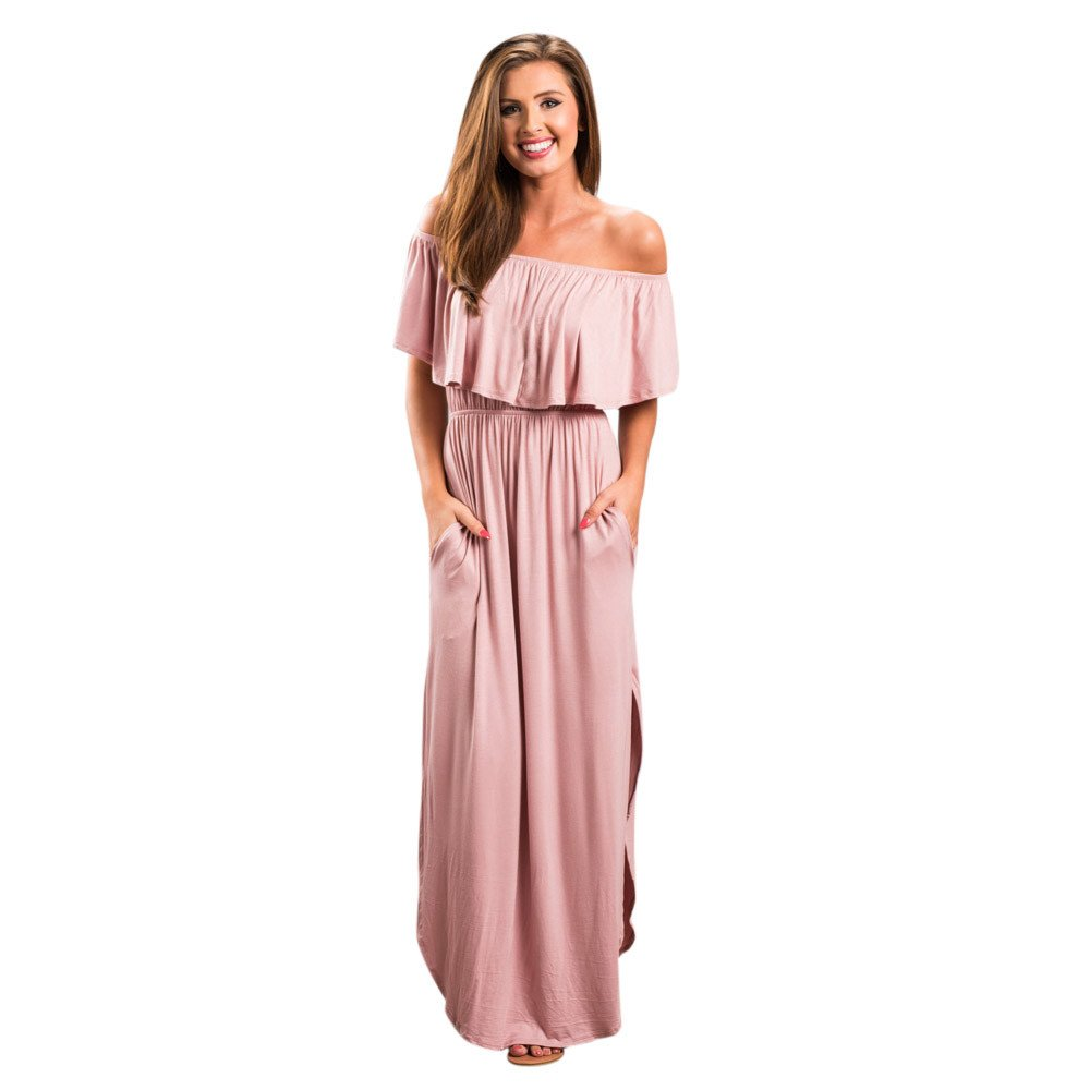 HAALIFE◕‿Womens Off The Shoulder Ruffle Party Dresses Maxi Casual Dress Pink by HAALIFE Women's Clothing