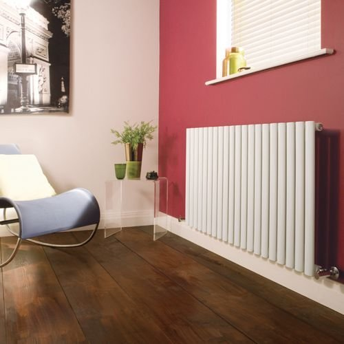 Hudson Reed NAHB0022 - Luxury White Horizontal Designer Radiator Heater With Free Angled Valves - Mild Steel - 25'' x 46.25'' - 1199 Watts - Compact Hydronic Warmer - Cast Iron Style by Hudson Reed