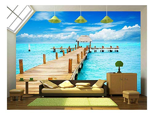(wall26 - Vacation in Tropic Paradise Jetty on Isla Mujeres, Mexico - Removable Wall Mural | Self-Adhesive Large Wallpaper - 66x96 inches)