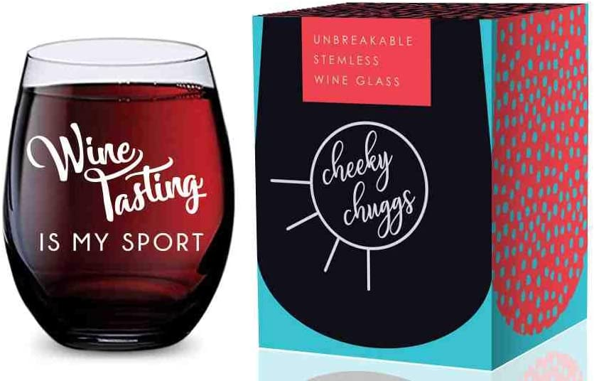Stemless Wine Glass (Wine Tasting is My Sport) Made of Unbreakable Tritan Plastic and Dishwasher Safe - 16 ounces