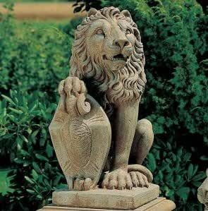 Jardín Estatua Escultura de león para jardín fabricado en hormigón mecanismo piedra diseño jardín Escultura Figura figuras: Amazon.es: Hogar