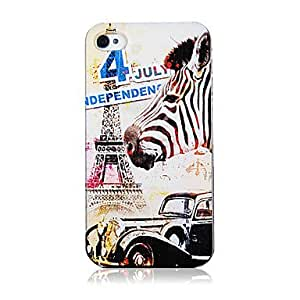 JAJAY- Vivid Zebra and Paris Iron Tower Pattern Transparent Frame Back Case for iPhone 4/4S