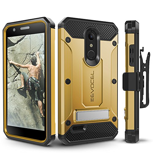 LG K30 / LG Premier Pro/LG Harmony 2 Case, Evocel Heavy Duty Protection with Glass Screen Protector, Rugged Holster, and Kickstand, Explorer Series Pro – Gold