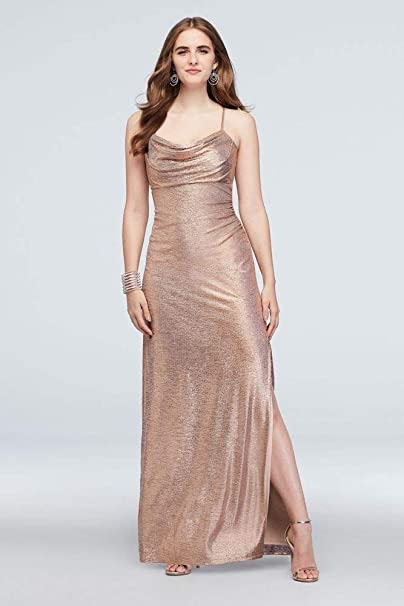 David S Bridal Metallic Cowl Neck Sheath Dress With Ruching