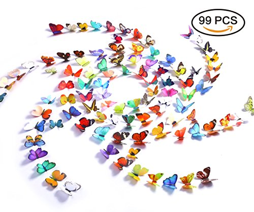 Kakuu Butterfly Wall Decals 99Pcs 3D Butterflies wall stickers Removable, Mural decor For Kids Room Bedroom Decor Living Room Decor