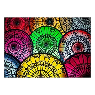 Colorful Asian Umbrellas with Patterned Designs Wall Mural, With Expert Quality, Astonishing Piece of Art