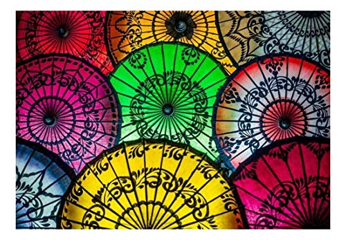 colorful asian umbrellas with patterned designs wall mural wall