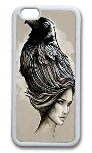 Apple Iphone 6 Case,WENJORS Adorable Raven Haired Soft Case Protective Shell Cell Phone Cover For Apple Iphone 6 (4.7 Inch) - TPU White