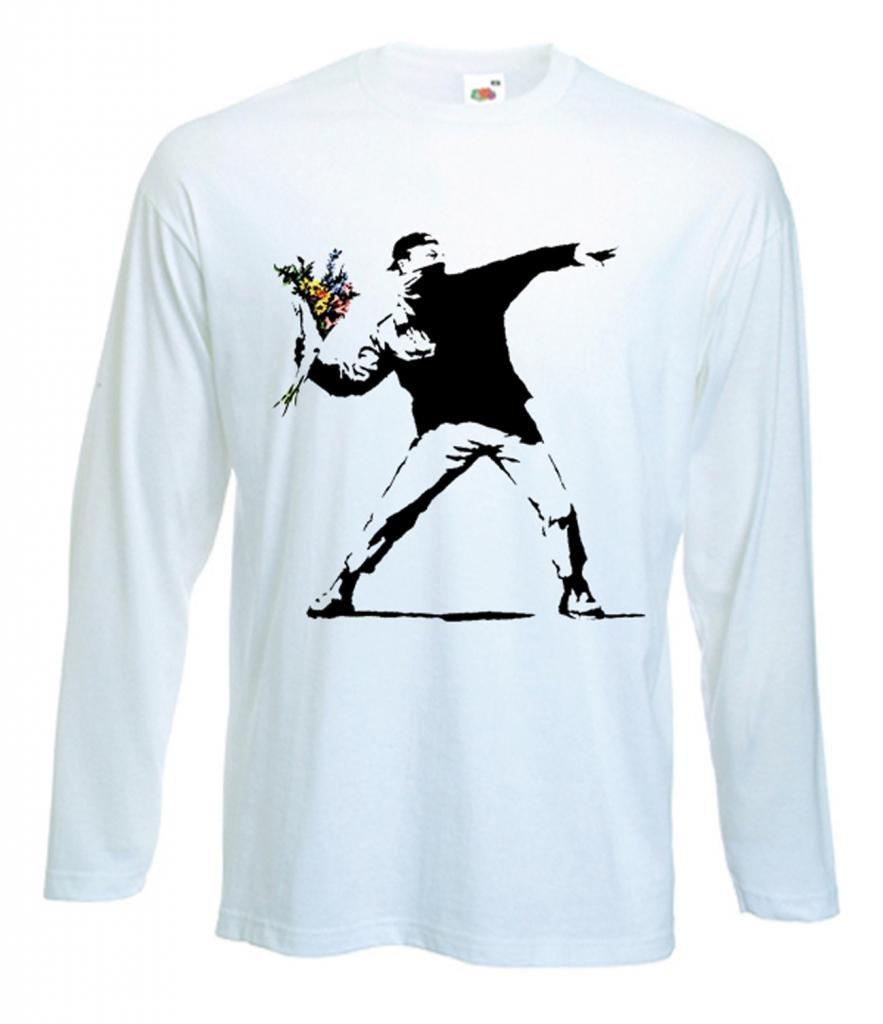 Tshirts S Banksy Flower Thrower Tshirt