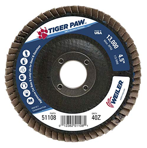 Weiler 51108 Tiger Paw High Performance Abrasive Flap Disc, Type 27 Flat Style, Phenolic Backing, Zirconia Alumina, 4-1/2