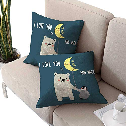 warmfamily I Love YouSquare Euro Sham Cushion CoverTeddy Bear and Penguin Friends Arctic Valentines Under Moon Cartooncute Cushion Covers 16