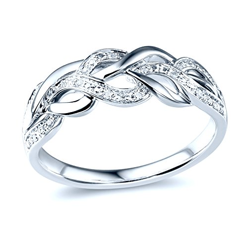 Diamond Wedding Anniversary Band in Rhodium Plated Sterling Silver by Diamond Classic Jewelry