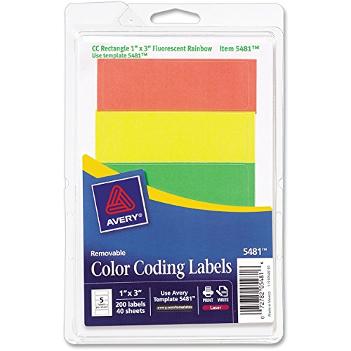 Avery Consumer Products Products - Removable Labels, Rectangle, 1amp;quot;x3amp;quot;, Fluorescent Asst. - Sold as 1 PK - Color-coded labels with removable adhesive are ideal for document and inventory control, routing, organizing, highlighting price marking, scheduling and more. Come on a (Removable Rectangle Labels)