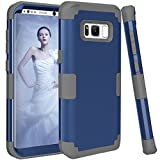 light blue and grey otterbox - Galaxy S8 Case, Beimu Premium Bumper Slim 3in1 Shock Absorption and Dust Resistant Bumper Style Premium Slim Fit Dual Layer Heavy Duty Protective Cover For Samsung Galaxy S8 2017 (Navy+Grey)