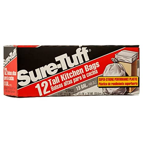 Amazon.com: New 349047 Sure-Tuff Trash Bag White 13 Gal 12 ...