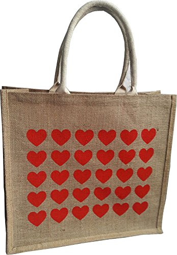 KVR natural Jute burlap wine beer water bottle cum can carrier bag Grocery Eco Environment Friendly versatile flexible (Fashion Bag - Without Divider, Natural ground with Red Heart print-2)