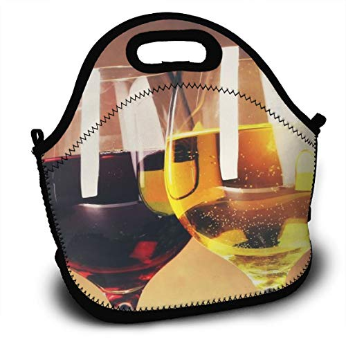 Dejup Lunch Bag Red Wine Glasses Grapes Tote Reusable Insulated Lunchbox, Shoulder Strap with Zipper for Kids, Boys, Girls, Women and Men ()