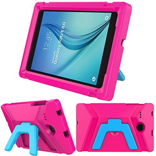 LEDNICEKER Kids Case for Samsung Galaxy Tab E 8.0 inch - Light Weight Shock Proof Kids Friendly Foldable Kickstand Protective Case for Samsung Galaxy Tab E 8-inch Tablet - Magenta/Rose