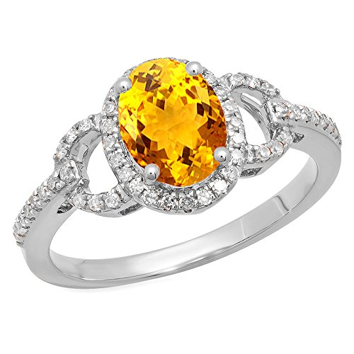 Dazzlingrock Collection 14K 8X6 MM Each Oval Citrine & Round Diamond Ladies Halo Engagement Ring, White Gold, Size 8