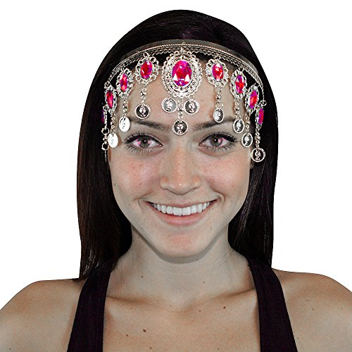 Hip Shakers Silver Crown Belly Dance Headband Hair Jewelry Party Accessories Fuchsia