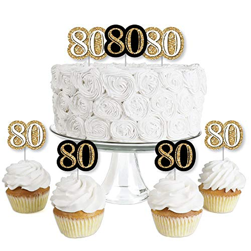 Adult 80th Birthday - Gold - Dessert Cupcake Toppers - Birthday Party Clear Treat Picks - Set of 24