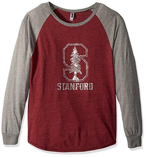NCAA Stanford Cardinal Women's Collegiate Fan Bling Raglan Tee, Size 2X, Dark Red/Grey