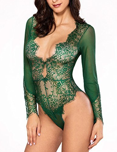Women Sexy Lingerie Long Sleeve Bodysuit Sexy Lace Deep V...