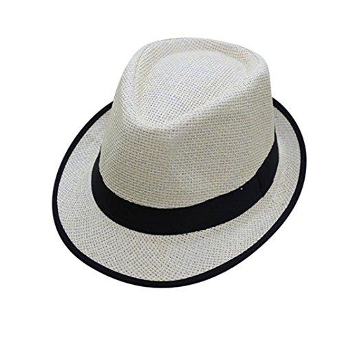 Yeefant Unisex Summer Beach Straw Belt Topper Visor Sun Cool Hat Jazz Outdoor Cap for Traveling,Head Circumference 1.83-1.90 Ft,Hat Height 0.39 Ft,Depth 0.36 Ft,Black