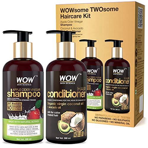 WOW Apple Cider Vinegar Shampoo and Organic Virgin Coconut oil plus Avacado Oil Conditioner- WOWsome Twosome No Parabens…