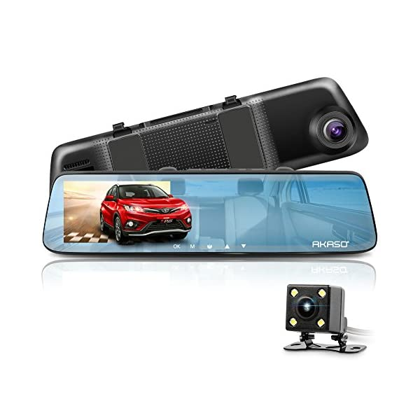 AKASO Mirror Dash Cam 1080P 5 Inch Touch Screen Dash Camera Front And Rear Dashcam With G Sensor, Night Vision, Reversing Camera, Parking Monitor