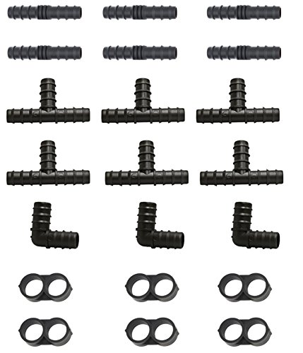 perhonor Irrigation Fittings for 1/2'' Tubing 6 Tees 6 Couplings 3 Elbows 6 Tubing End Caps for Compatible Drip and Rain Bird or Plant Watering System- 21 Piece Set for Drip Irrigation Systems by perhonor