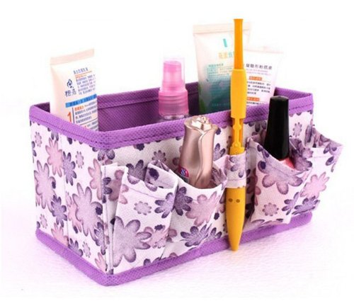 JD Million shop (1 pcs) Cosmetic Bag New Bright Floral Makeup Storage Box Organiser Girl Foldable Stationary Container (Cho Clock)
