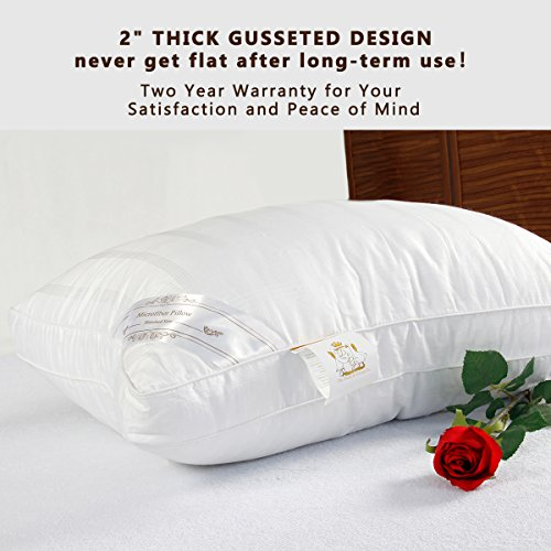 Down Alternative Pillow Fluffy (2 Pack Queen), Best Hotel Pillows with 2'' Gusset 100% Cotton Cover, Hypo-Allergenic Sleeping Pillow by The Duck And Goose Co by The Duck And Goose Co (Image #4)