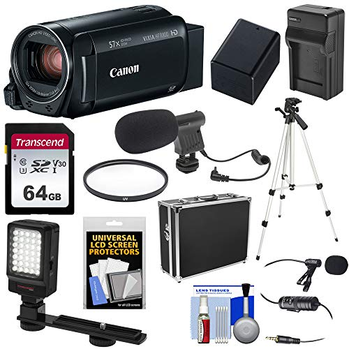 - Canon Vixia HF R800 1080p HD Video Camera Camcorder (Black) with 64GB Card + Battery & Charger + Hard Case + Tripod + LED Light + 2 Microphones Kit